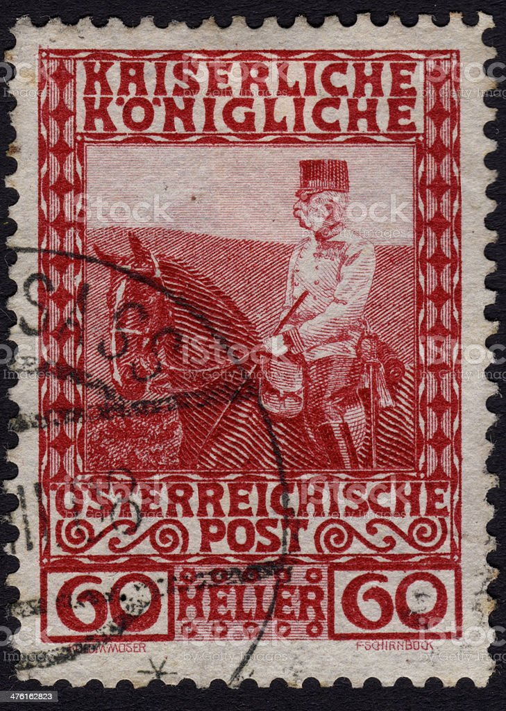 Postage stamp showing Austrian emperor Frans Josef stock photo