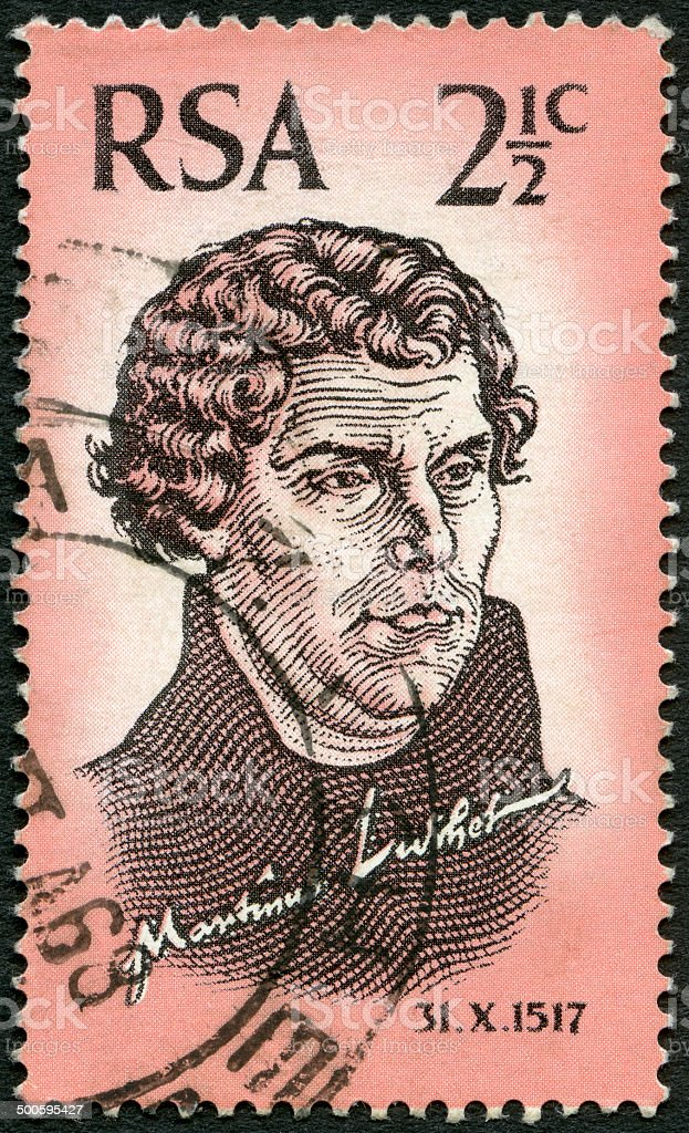 Postage stamp South Africa 1967 shows Martin Luther (1483-1546) stock photo