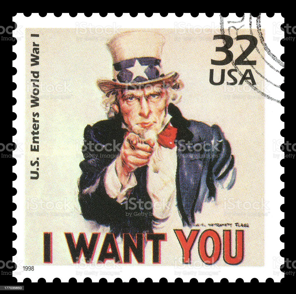 USA Postage Stamp Uncle Sam stock photo