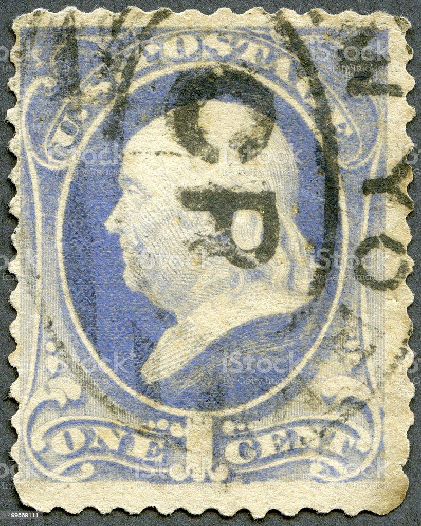 Postage stamp USA 1870's shows President Benjamin Franklin stock photo