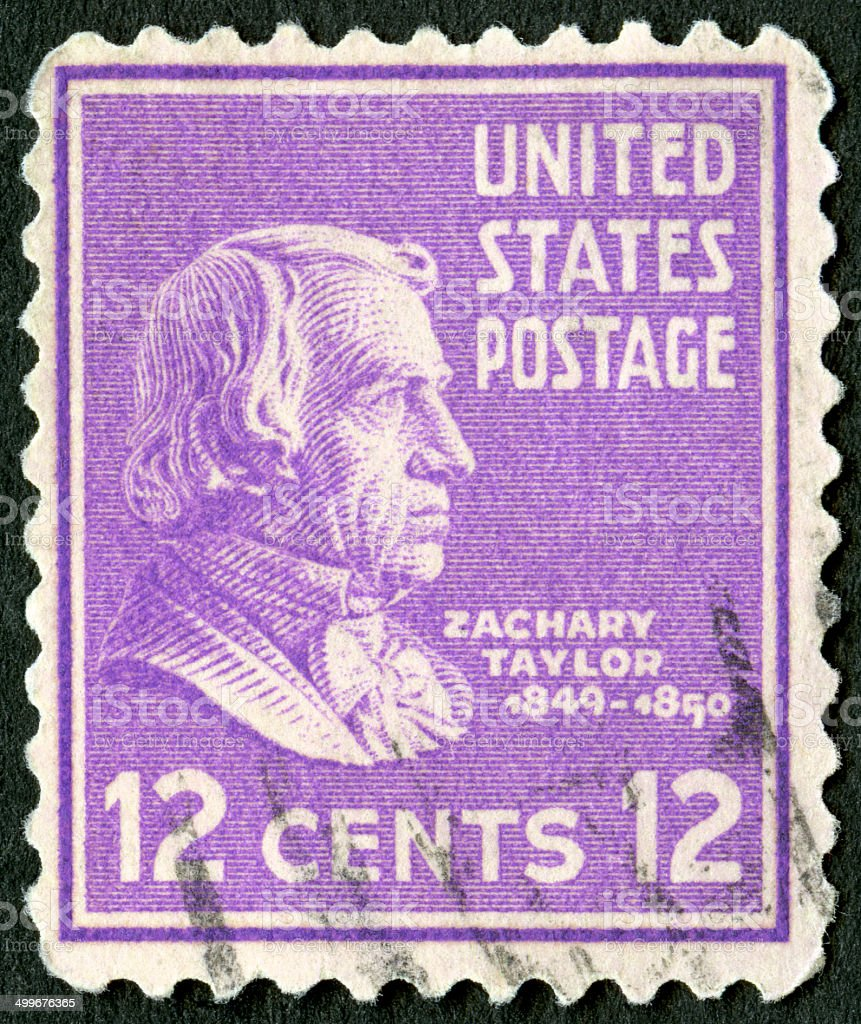 Postage stamp USA 1938 shows portrait of Zachary Taylor (1784-1850) stock photo