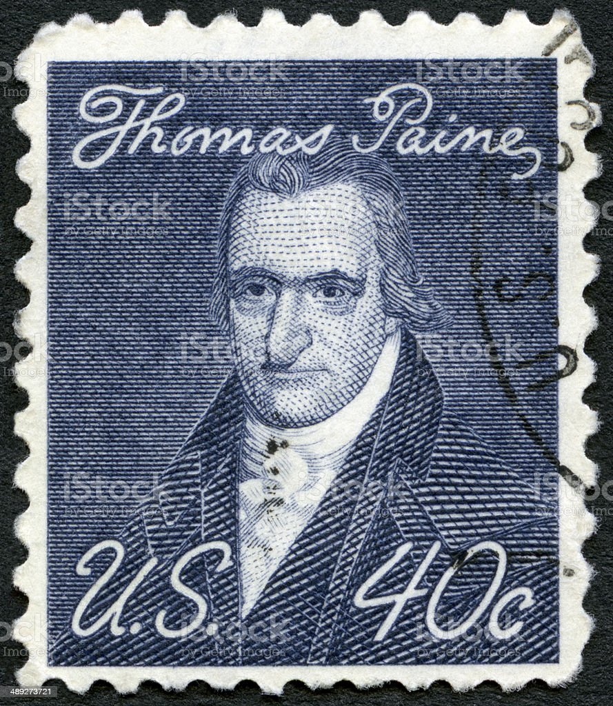 Postage stamp USA 1969 portrait Thomas Paine 1737-1809 stock photo
