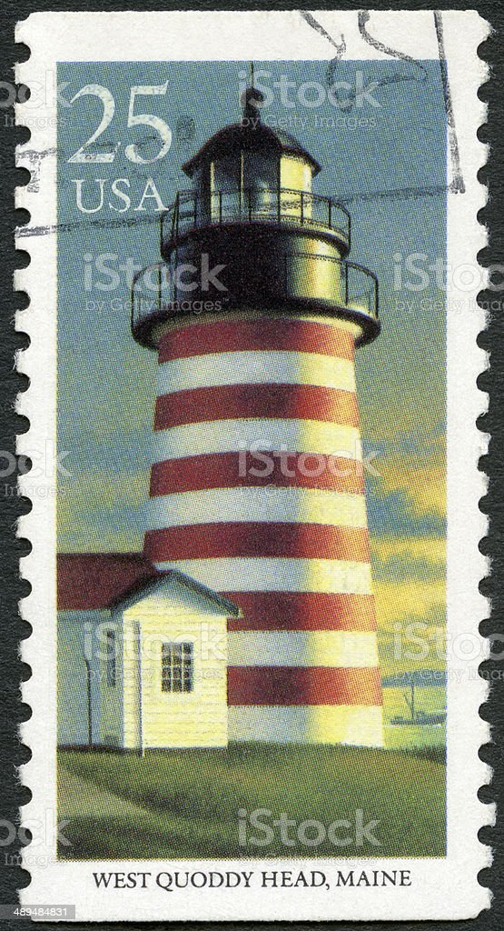 Postage stamp USA 1990 shows West Quoddy Head stock photo