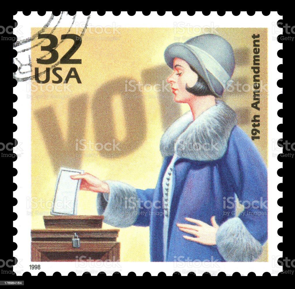USA Postage Stamp Vote Women's Suffrage stock photo