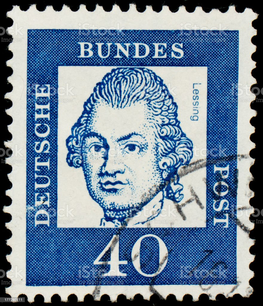 postage stamp with German writer Gotthold Ephraim Lessing stock photo