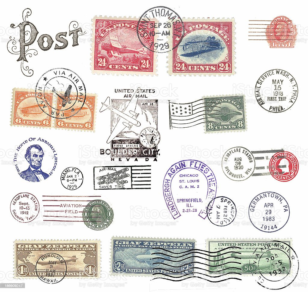 Postage stamps and labels from US stock photo