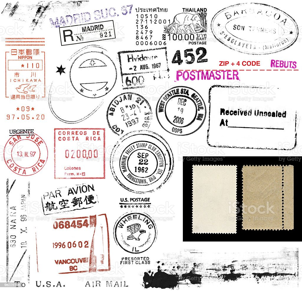 Postage Stamps and Marks stock photo