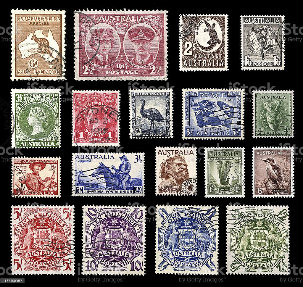 Postage stamps from Australia royalty-free stock photo