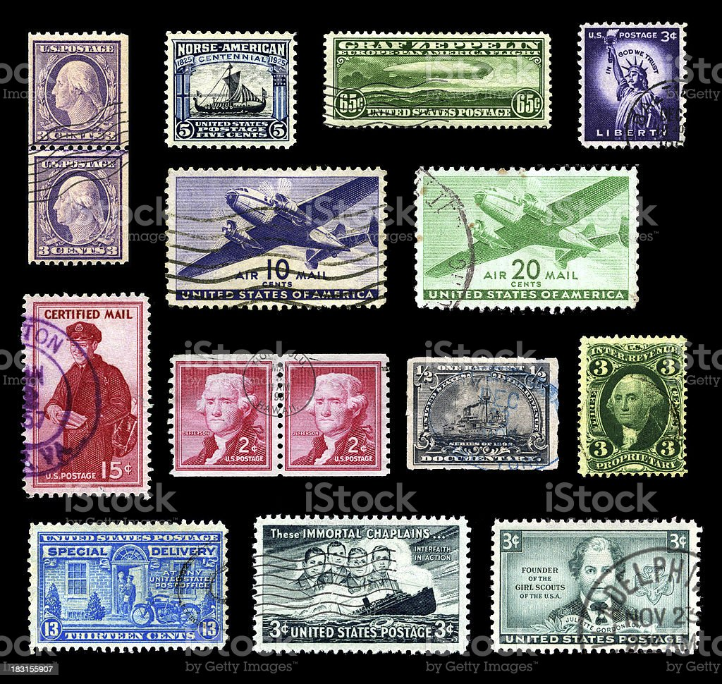 Postage stamps from the USA royalty-free stock photo