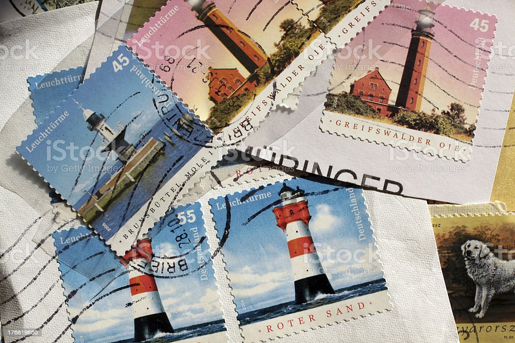 Postage stamps lighthouse from Germany stock photo