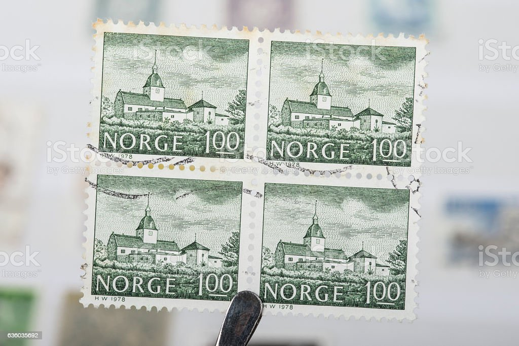 Postage stamps of Norway stock photo