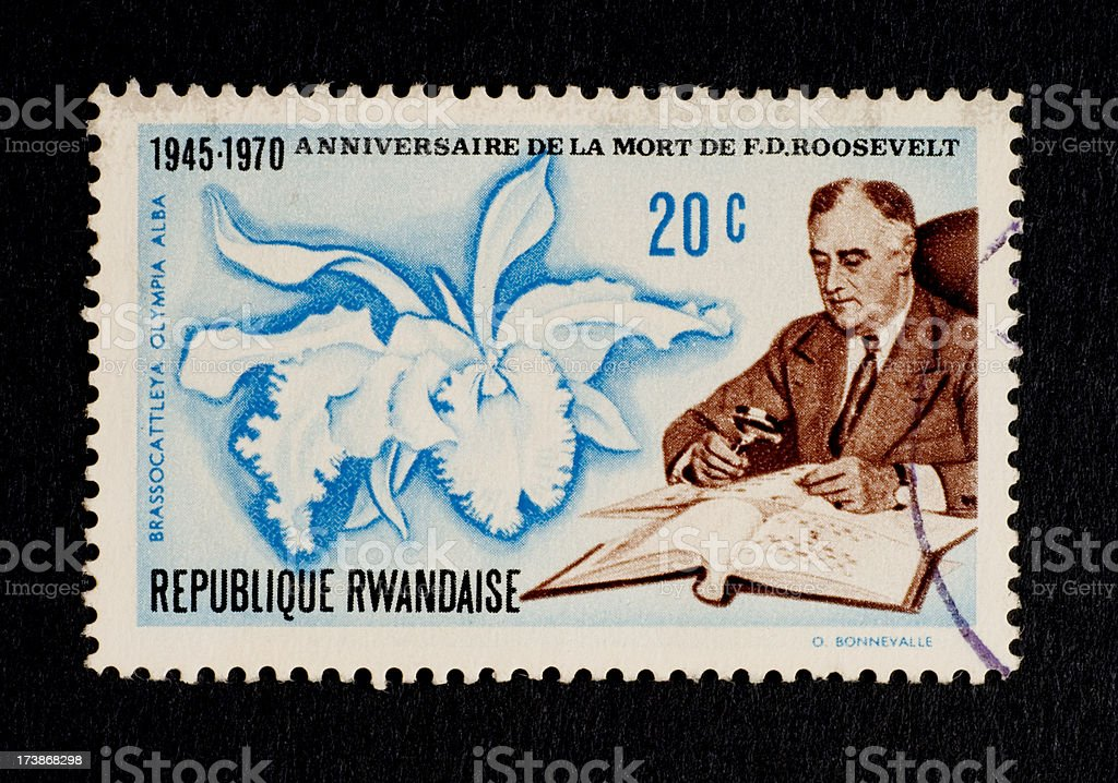 Postage Stamps: Roosevelt Stamp with Orchid (Rwanda) stock photo