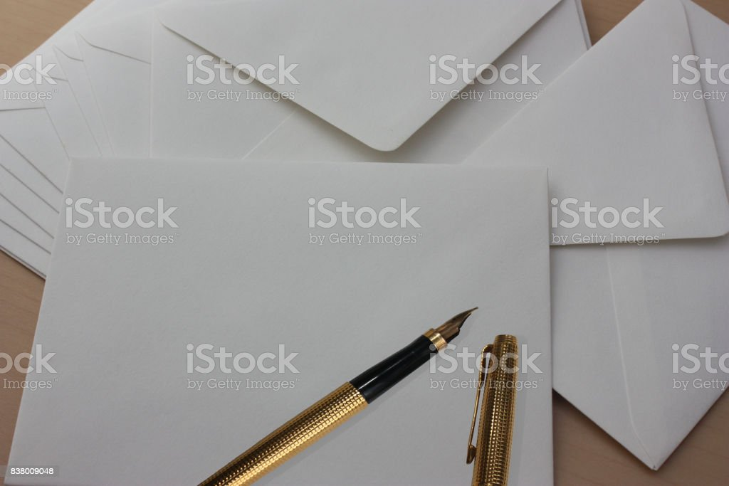 Postal mail  envelopes  Writing with ink pen stock photo