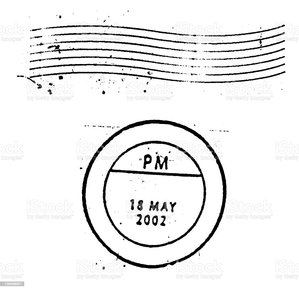 Postal Marks and stamps on white background stock photo