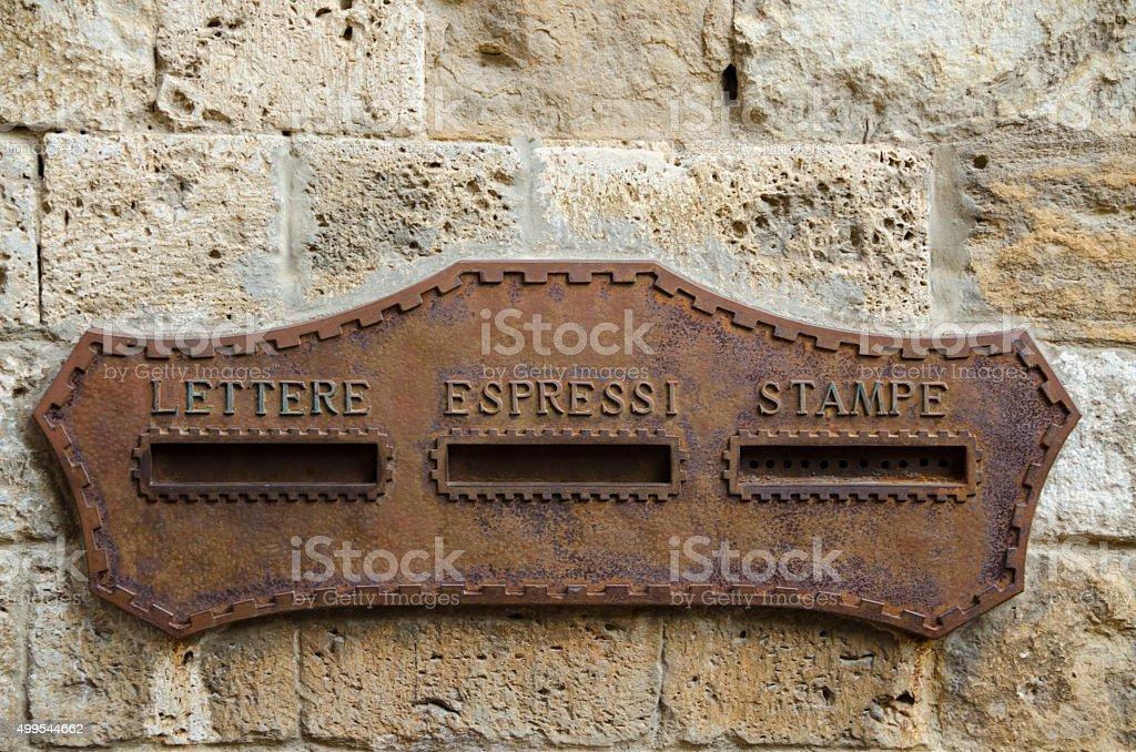 Postal Service in San Gimignano, Italy stock photo