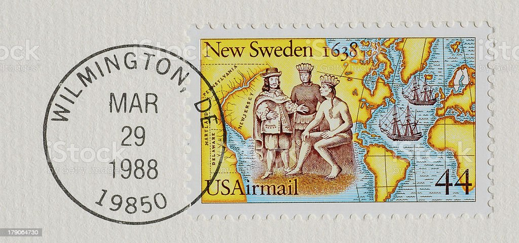 Postal stamp from USA stock photo