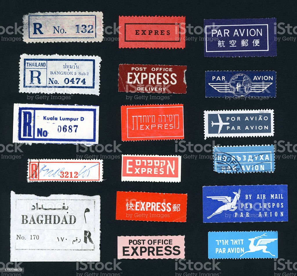 Postal Stickers from Foreign Lands stock photo