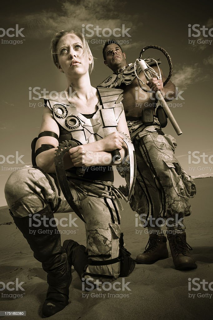 Post-apocalyptic soldiers or warriors in futuristic setting royalty-free stock photo