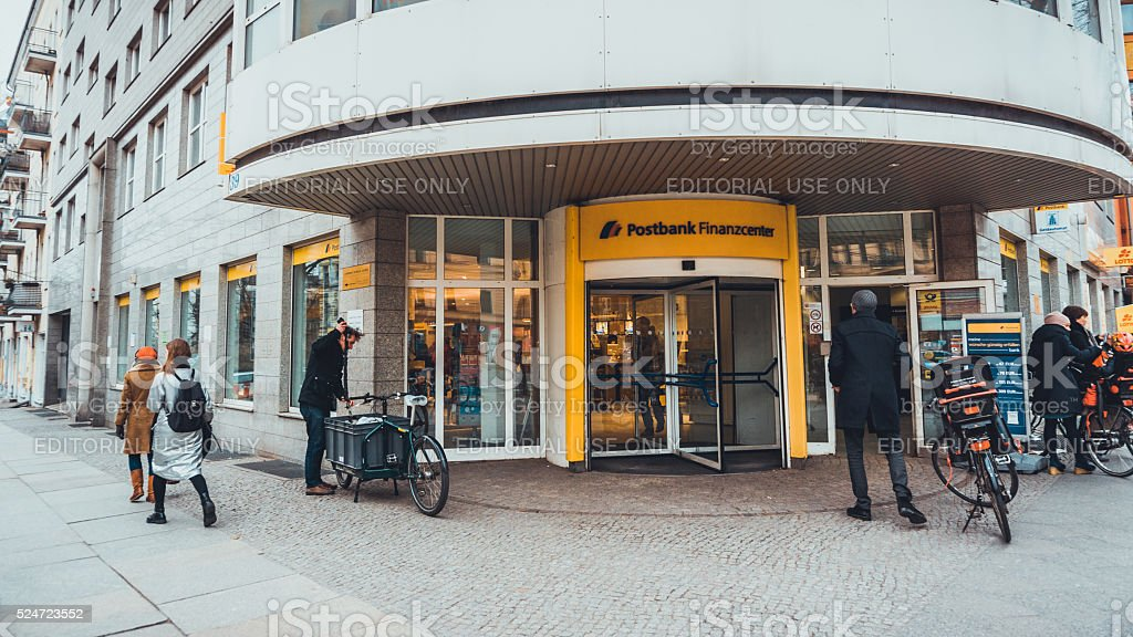 Postbank entrance stock photo
