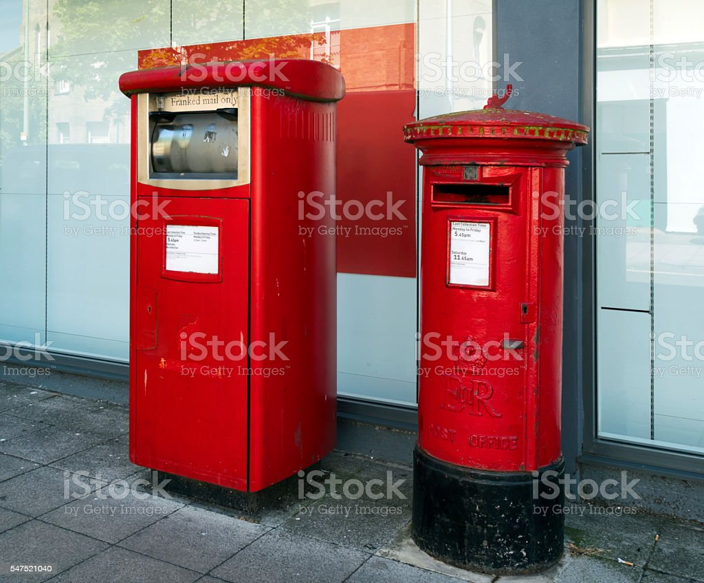 Postboxes for franked and normal British mail stock photo
