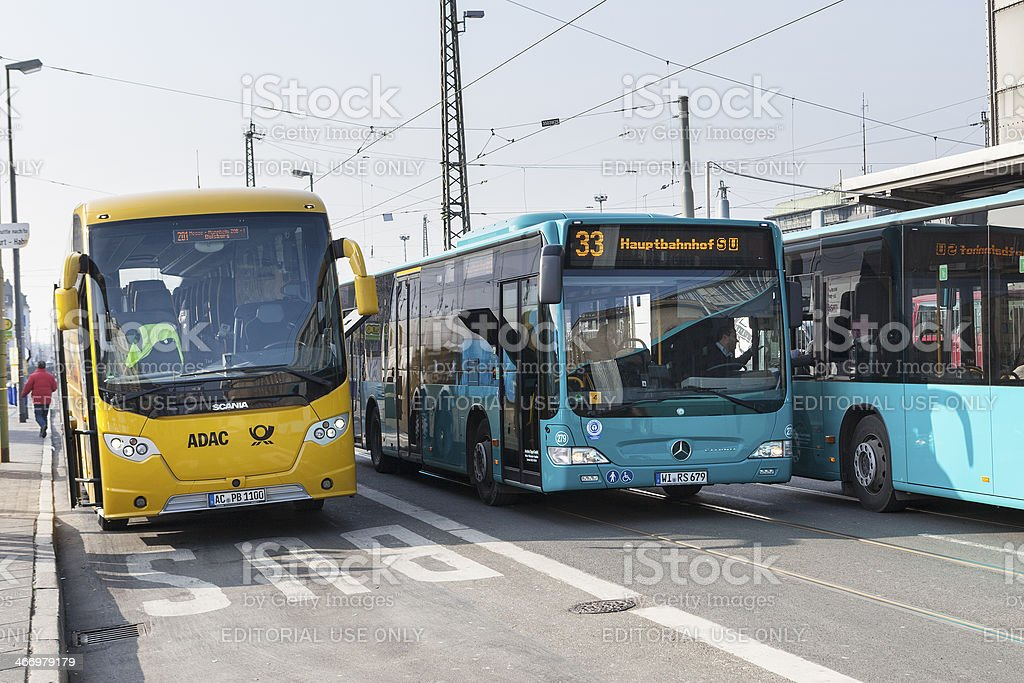 ADAC Postbus and line busses stock photo