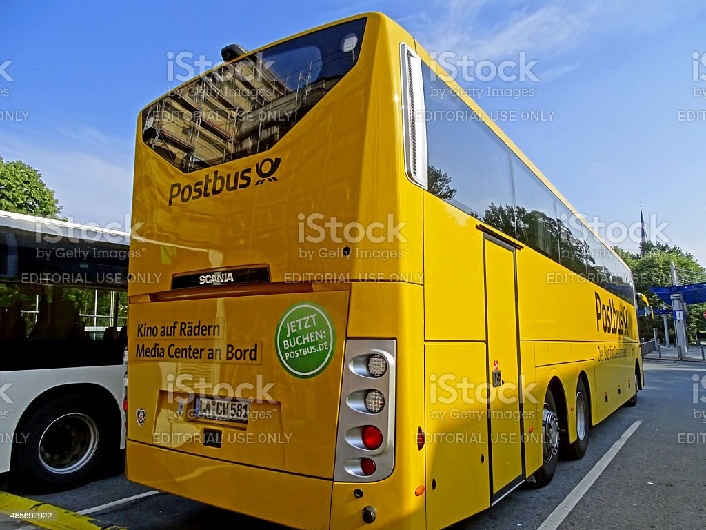 Postbus Scania OmniExpress stock photo