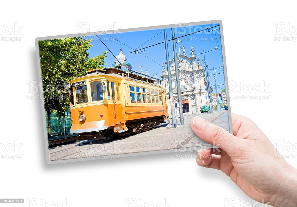 Postcard about the historical trasportation of Porto stock photo