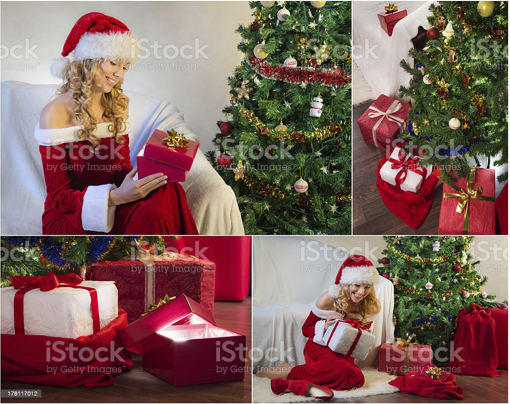 Postcard for Christmas with tree and gifts royalty-free stock photo