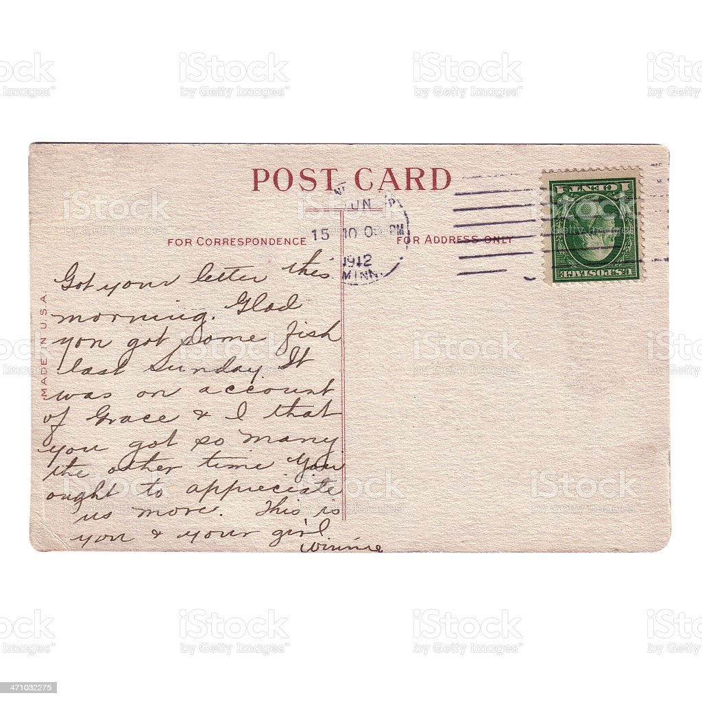 Postcard from 1912 stock photo