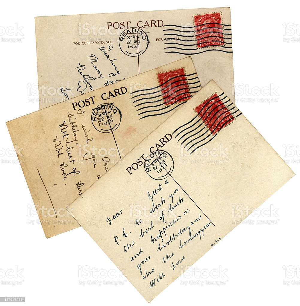 postcard from 1920 for the recipients birthday royalty-free stock photo