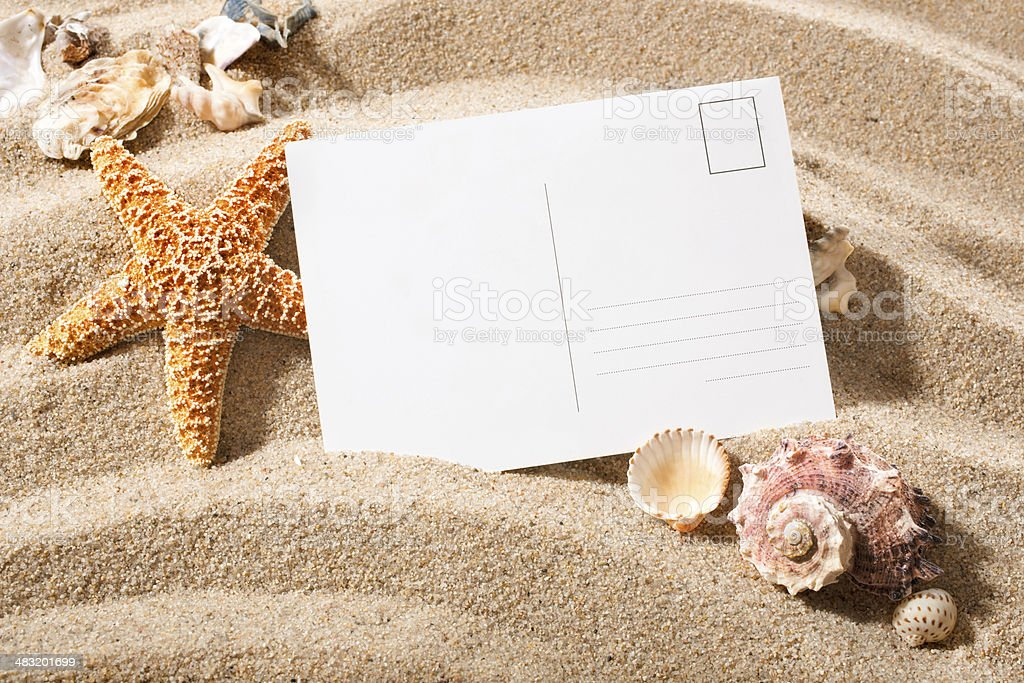 postcard from beach stock photo