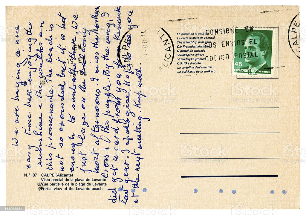 Postcard from Calpe, near Alicante, Spain, 1988 stock photo