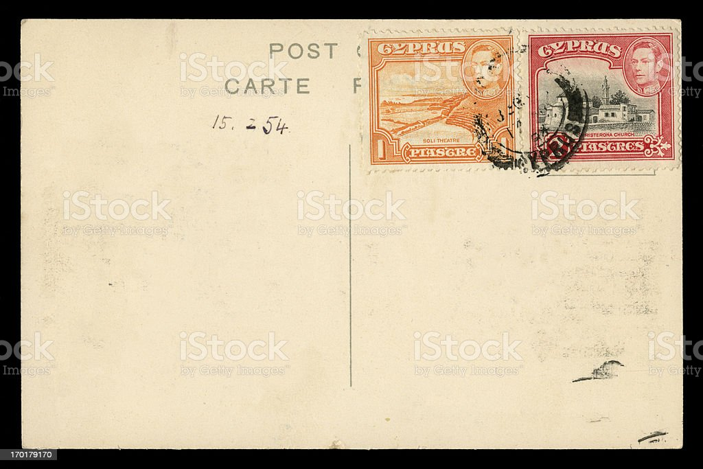 Postcard from Cyprus, 1954, George VI postage stamps royalty-free stock photo