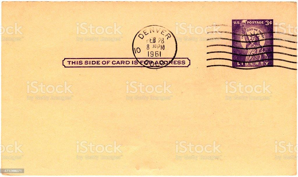 Postcard from Denver, Colorado, 1961 royalty-free stock photo