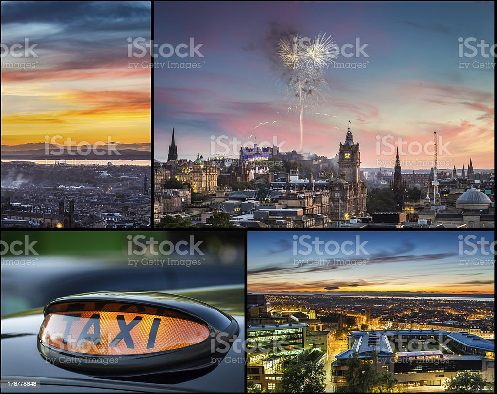 Postcard from Edinburgh at night royalty-free stock photo