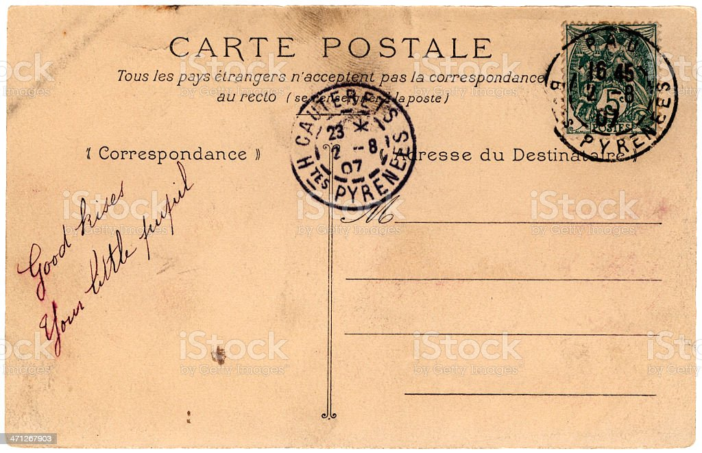 Postcard from France 1907 stock photo