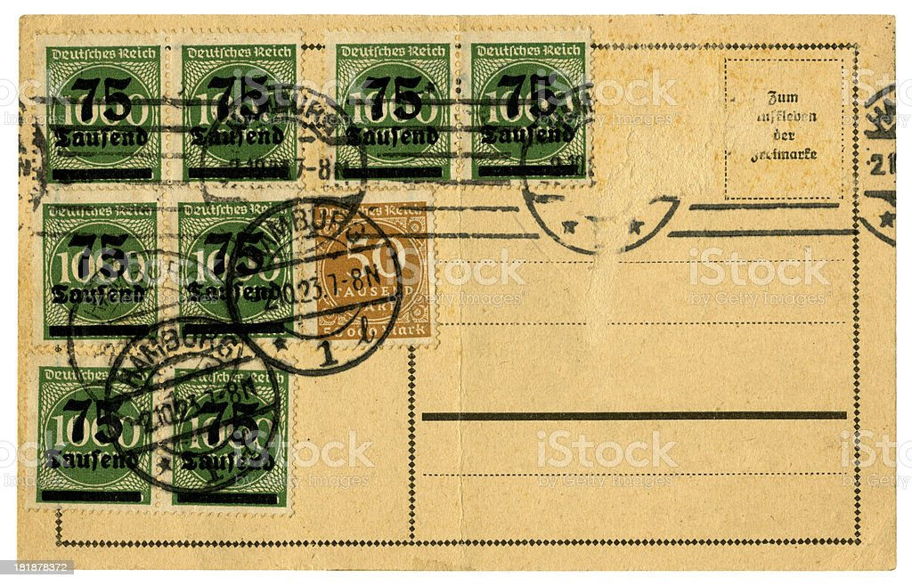 'Postcard from Germany, 1923' stock photo