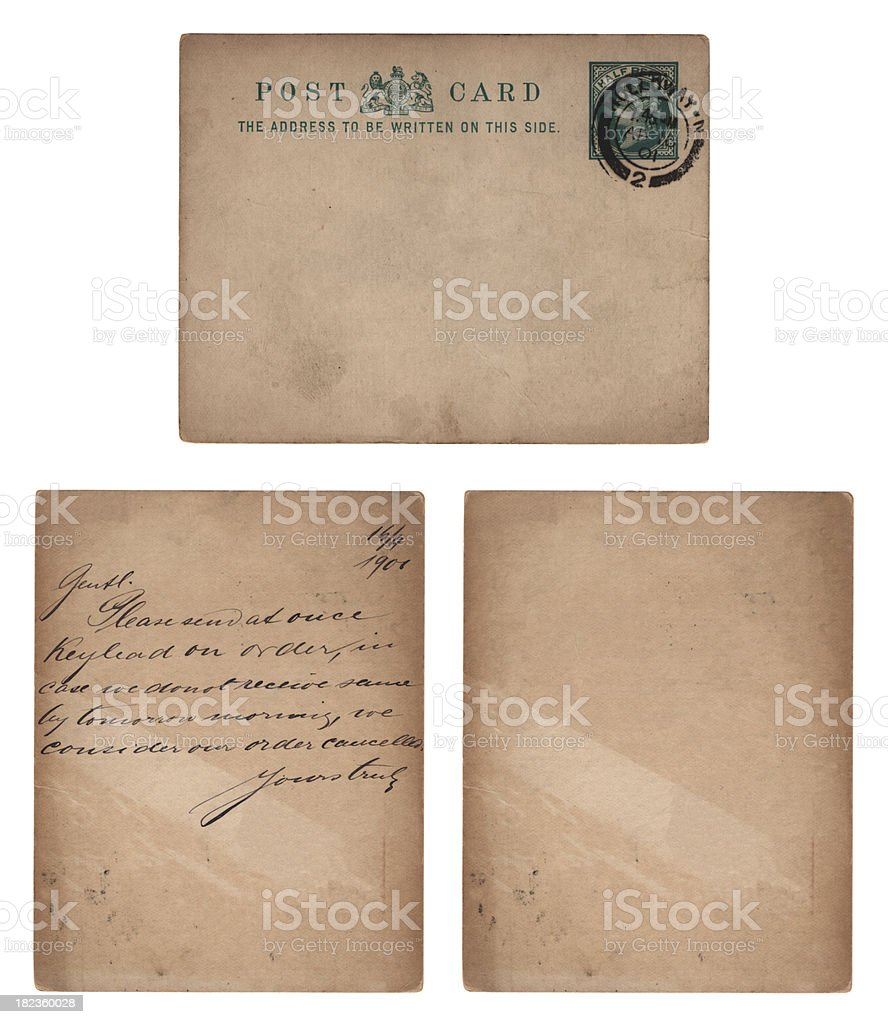 Postcard from Holloway, 1901 (front, back and blank version) stock photo