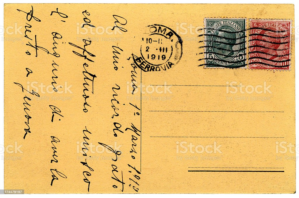Postcard from Italy 1919 stock photo