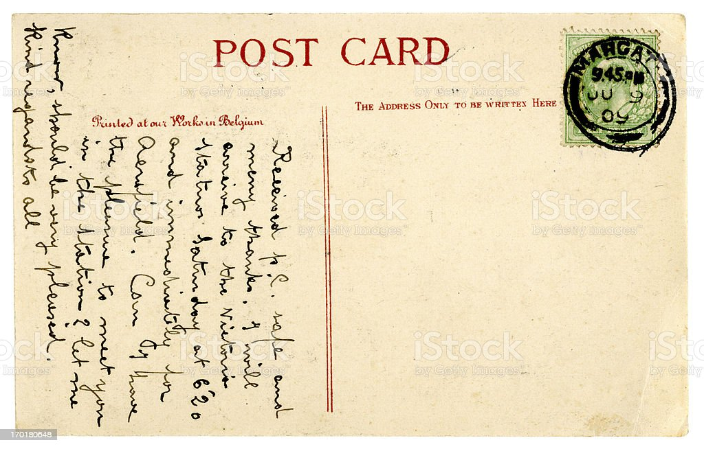 Postcard from Margate, Kent, 1909 stock photo