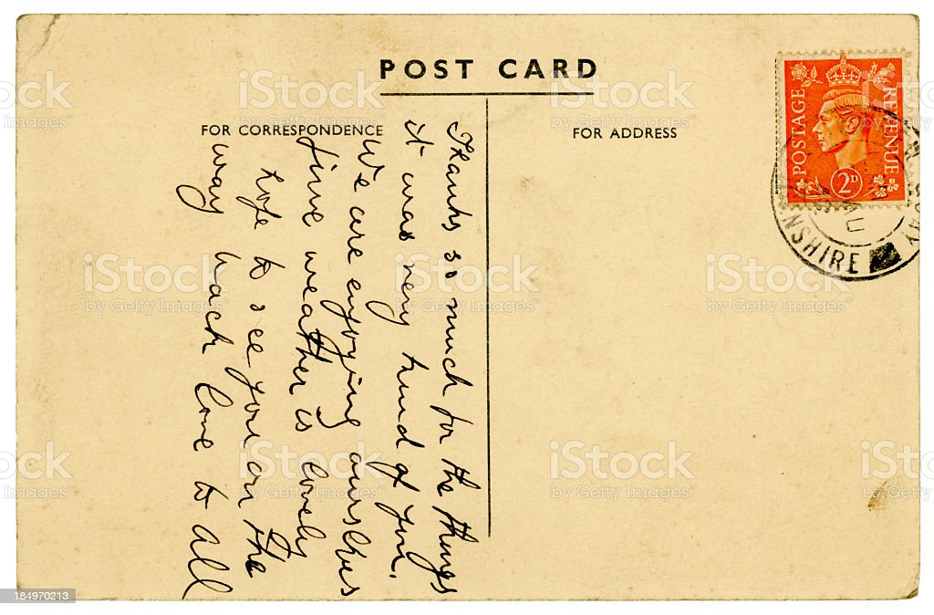 Postcard from New Quay, Cardiganshire, Wales, 1940s royalty-free stock photo