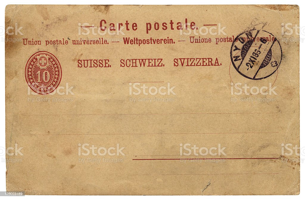 Postcard from Switzerland, 1886 royalty-free stock photo