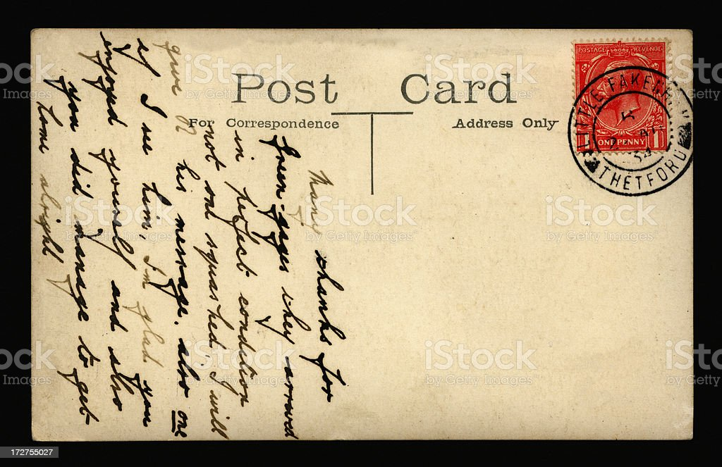 Postcard from Thetford royalty-free stock photo