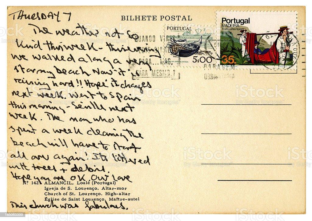 'Postcard from Vila Real de Santo Antonio, Portugal, 1985' stock photo
