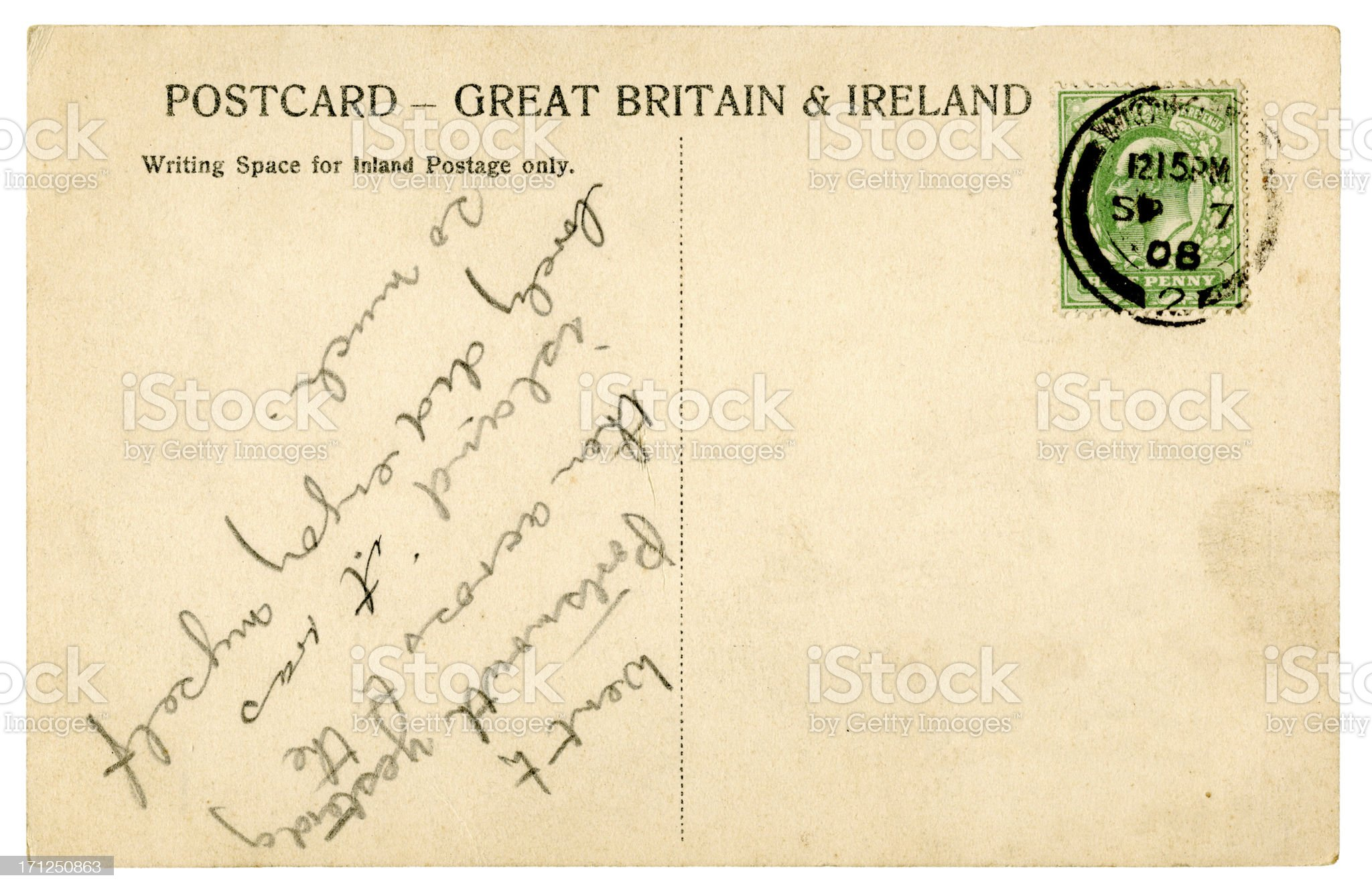 Postcard from Woking, 1908 royalty-free stock photo
