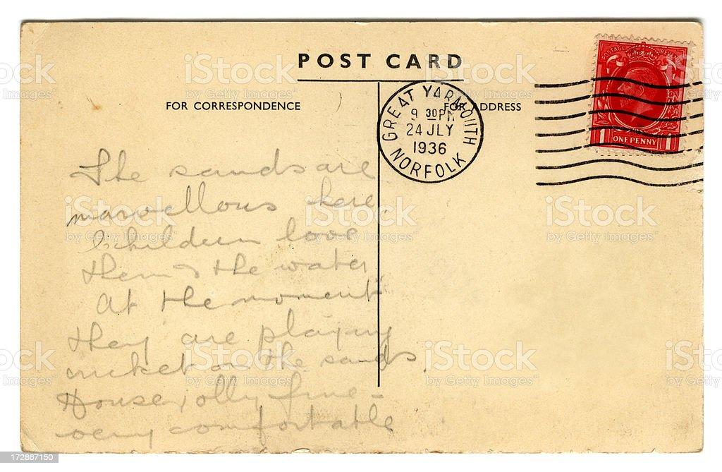 Postcard: George V July 1936 royalty-free stock photo