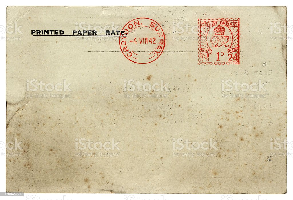 British business 'Printed Paper Rate' postcard 1942 royalty-free stock photo