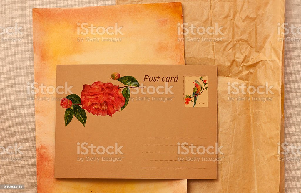 Postcard on aged paper with watercolor drawings stock photo