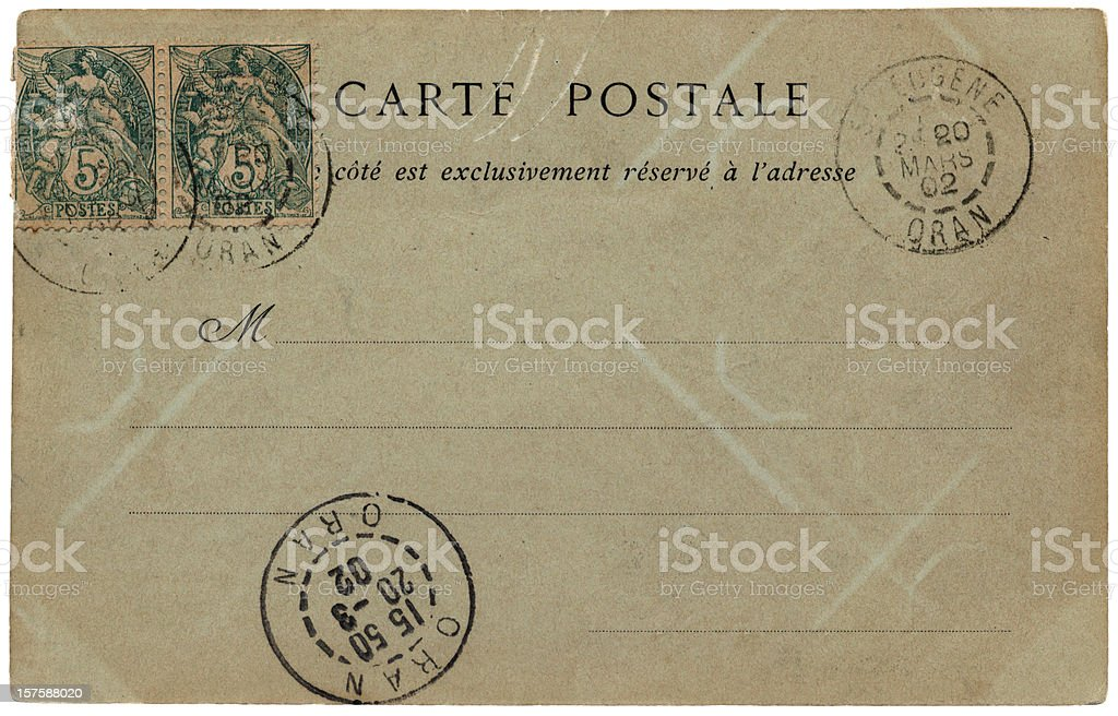 Postcard sent from St Eugene, Oran (North Africa) in 1902 royalty-free stock photo
