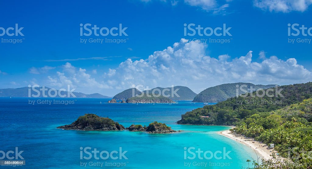 Postcard view from US Virgin Islands stock photo